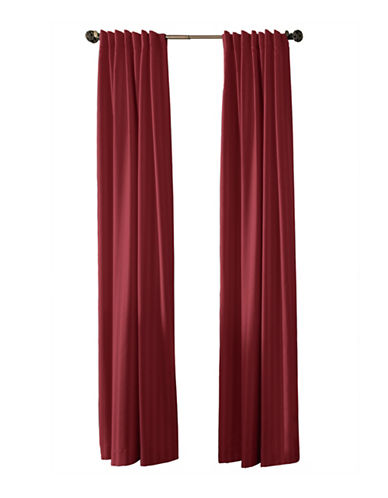 Damask Stripe Set of Two Woven Striped Drapery Panels-RED-108 inches