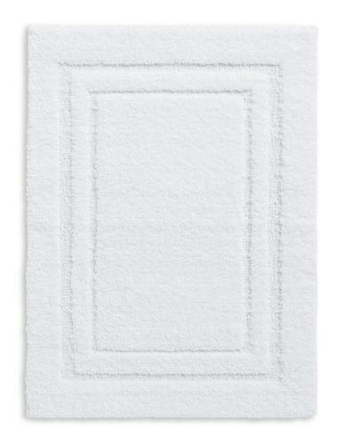 Home Studio Rectangular Pattern Nylon Bath Rug-WHITE-One Size