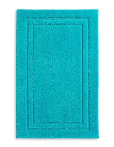Home Studio Rectangular Imprint Nylon Bath Rug-AQUA-One Size