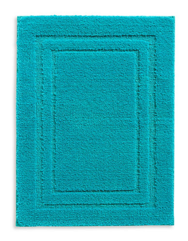 Home Studio Rectangular Pattern Nylon Bath Rug-AQUA-One Size