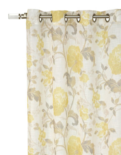 Home Outfitters Evita Sheer Printed Grommet Curtain-YELLOW-96 inches
