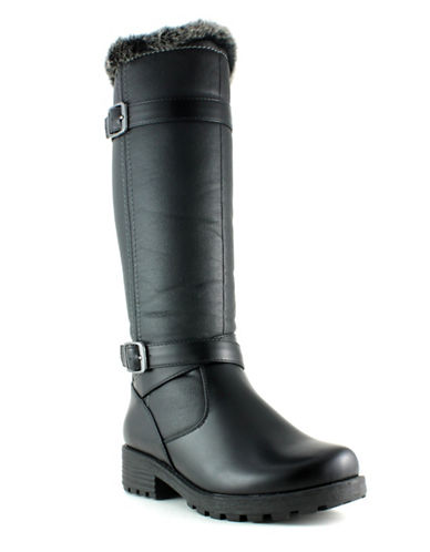 Aquatherm By Santana Canada Faux-Fur Trim Waterproof Riding Boots-BLACK-10