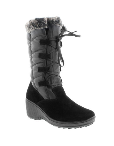 Aquatherm By Santana Canada Faux Fur Trim Alaska Winter Boots-BLACK-10