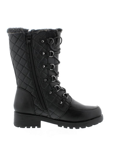 Aquatherm By Santana Canada Aspen Quilted Winter Boots with Faux Fur Trim-BLACK-6