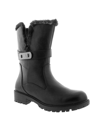 Aquatherm By Santana Canada Dyed Faux Fur Trim Winter Boots-BLACK-10