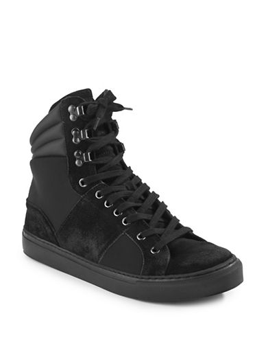 Rogue Stealth High Top Leather Sneaker Boots-BLACK-8.5