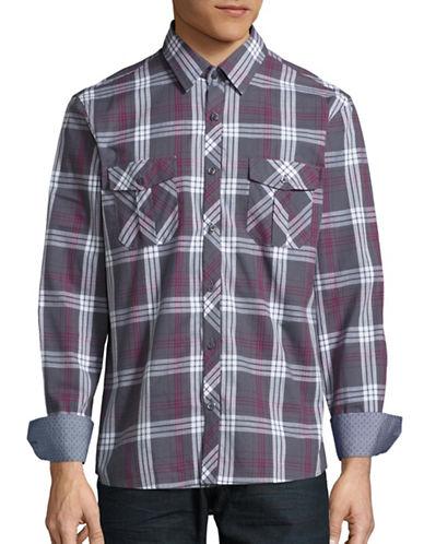 English Laundry Plaid Cotton Utility Shirt-CHARCOAL-Small