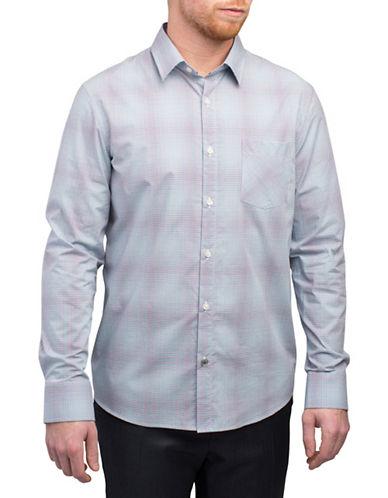 English Laundry Micro Grid Check Shirt-GREEN-Small