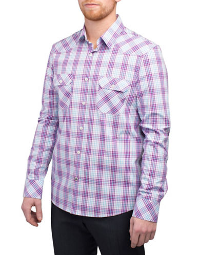 English Laundry Dobby Long Sleeve Plaid Pocket Shirt-PURPLE-Large