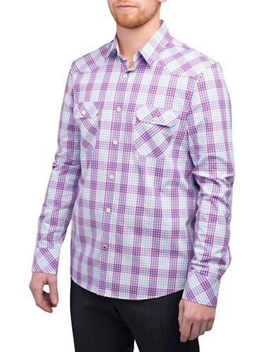 English Laundry Dobby Long Sleeve Plaid Pocket Shirt-PURPLE-Small