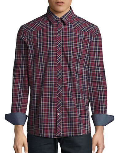 English Laundry Plaid Cotton Western Shirt-BURGUNDY-Small