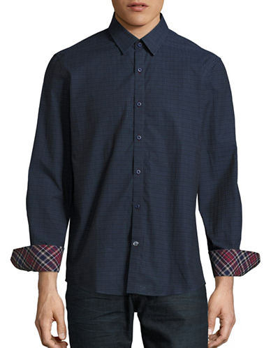 English Laundry Tonal Dobby Plaid Sport Shirt-NAVY-Small