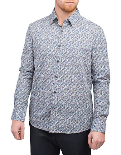 English Laundry Mini Paisley Print Sport Shirt-ENVY NAVY-X-Large