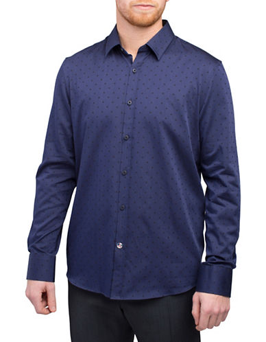 English Laundry Tonal Square Shirt-BLUE-Large
