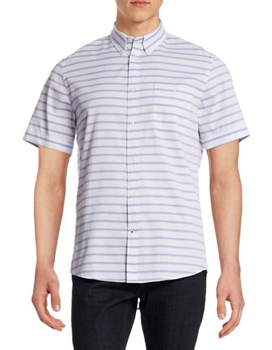 Nn07 Derek Short Sleeve Striped Shirt-BLUE-Large