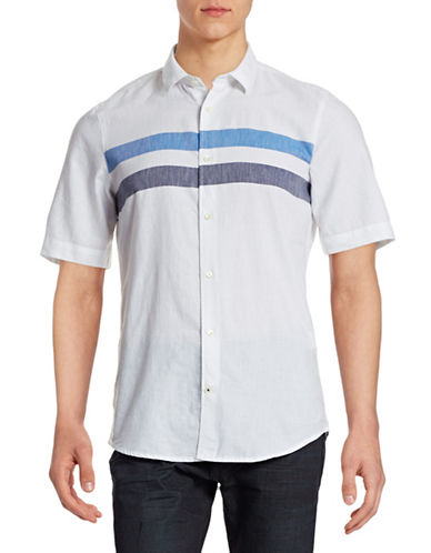 Nn07 Striped Short-Sleeve Shirt-BLUE-Medium