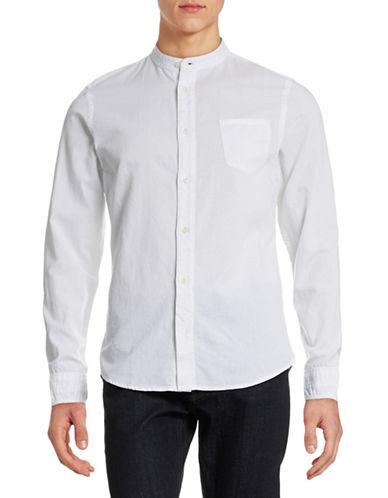 Nn07 Samuel Banded Collar Shirt-WHITE-X-Large