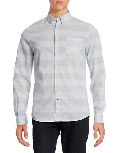 Nn07 New Derek Long Sleeve Stripe Shirt-BLUE-X-Large