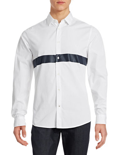 Nn07 Sean Stripe Slim Fit Sports Shirt-WHITE-Small