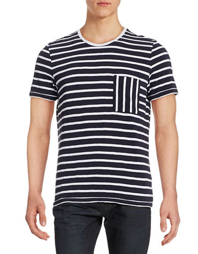 Nn07 Milo Stripe Crew Neck T-Shirt-NAVY-Large
