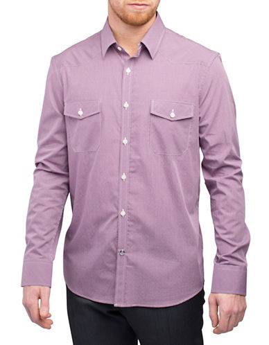 English Laundry Western Grid Check Shirt-PURPLE-Small