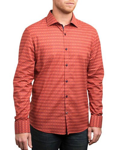 English Laundry Vintage Dotted Sunburst Shirt-RED-Small