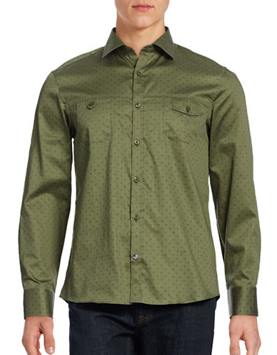 English Laundry Floral Utility Sport Shirt-GREEN-Small
