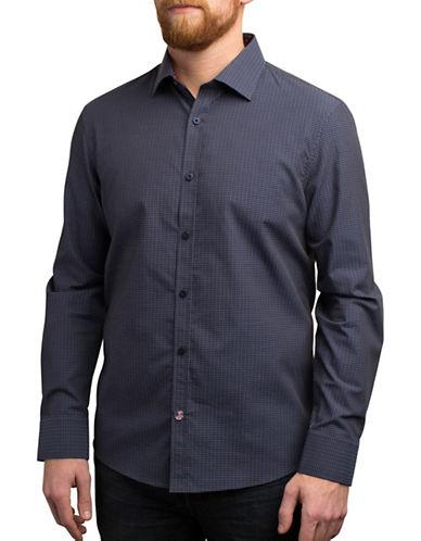 English Laundry Long Sleeve Dobby Shirt-BLUE-Small