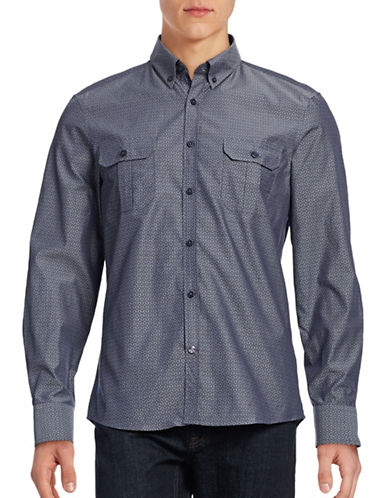 English Laundry Diamond Stitch Button-Down Shirt-BLUE-Small