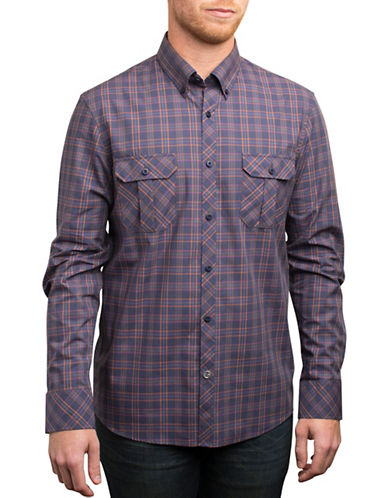English Laundry Midnight Plaid Shirt-NAVY-X-Large