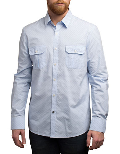 English Laundry Micro Dot Gingham Shirt-BLUE-Small