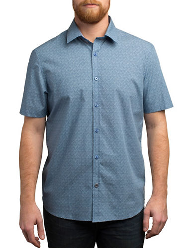 English Laundry Floral Outline Printed Regular Fit Sport Shirt-BLUE-Small
