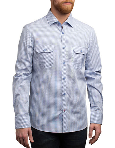 English Laundry Gingham Cotton Shirt-BLUE-Small