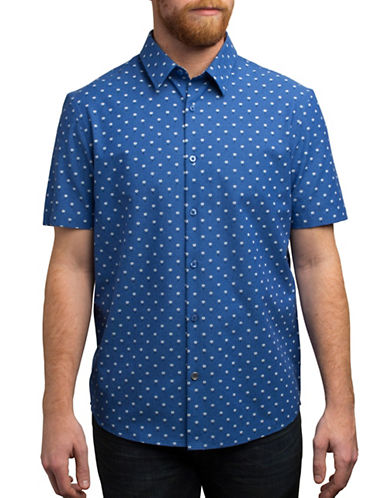 English Laundry Short Sleeve Floral-Print Shirt-BLUE-Small