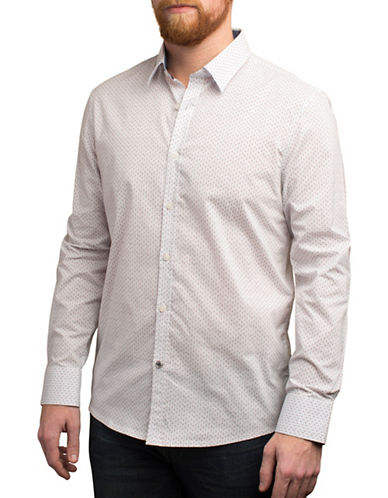 English Laundry Micro Printed Cotton Shirt-NATURAL-Small