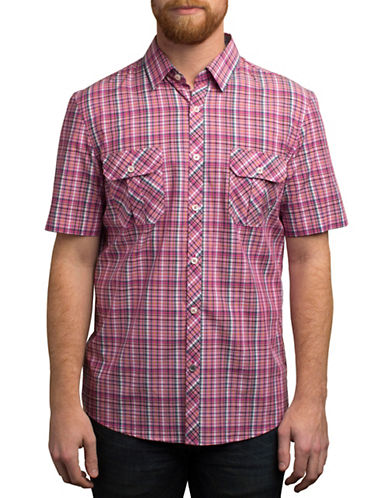 English Laundry Plaid Printed Regular Fit Sport Shirt-PINK-Small