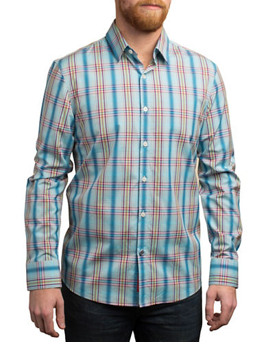 English Laundry Bold Plaid Cotton Shirt-MULTI-COLOURED-X-Large