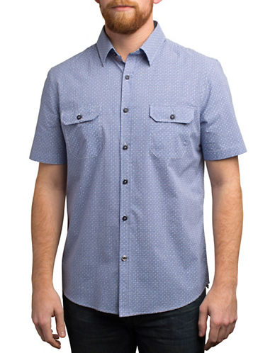 English Laundry Micro Plaid and Dot Print Shirt-BLUE-Large