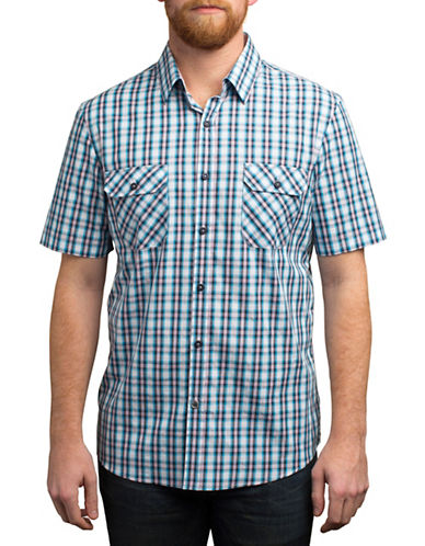 English Laundry Short Sleeve Plaid Patterned Shirt-BLUE-Small