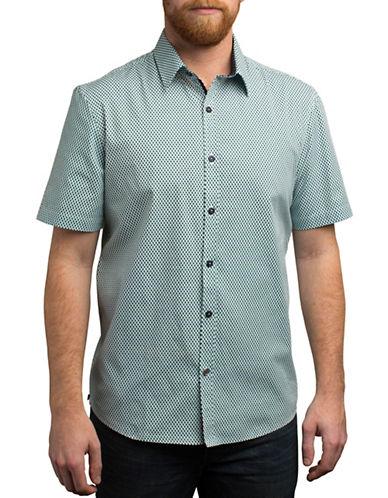 English Laundry Short Sleeve Shadow Dot-Print Shirt-GREEN-Large