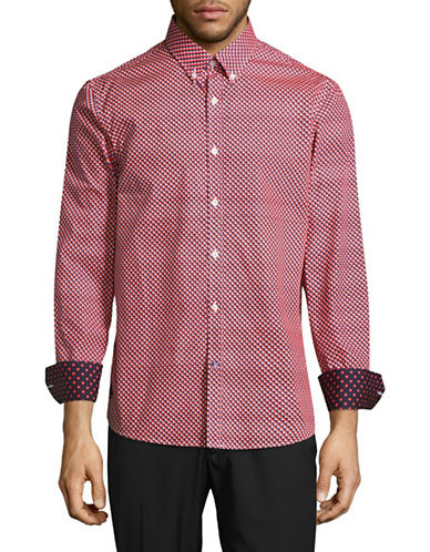 English Laundry Two-Tone Circle Print Regular-Fit Shirt-RED-Large