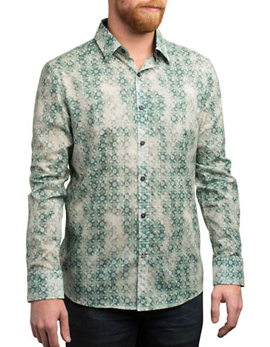 English Laundry Faded Geometric Print Cotton Shirt-GREEN-Large
