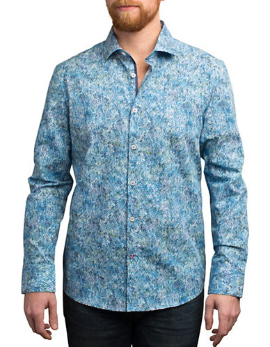 English Laundry Stamp Print Cotton Shirt-BLUE-Medium