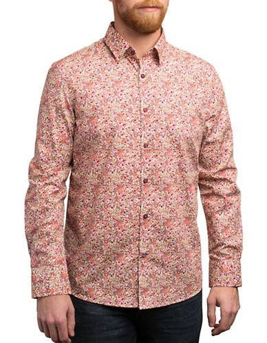 English Laundry Bold Floral Regular-Fit Cotton Shirt-RED-Small