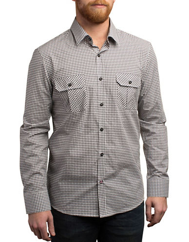 English Laundry Plaid Regular Cotton Shirt-BLACK-Large