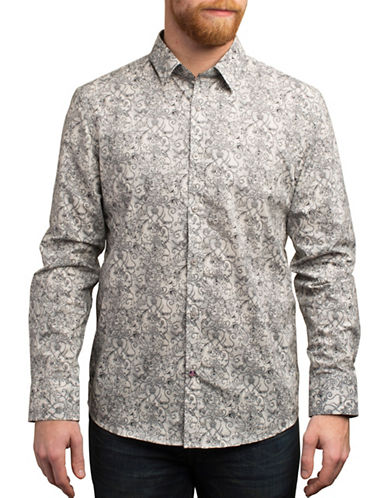 English Laundry Decorative Flowers Print Cotton Shirt-GREY-Medium