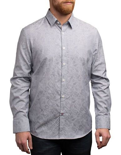 English Laundry Tonal Printed Shirt-GREY-Medium