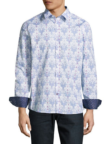 English Laundry Damasque Sport Shirt-PURPLE-Small