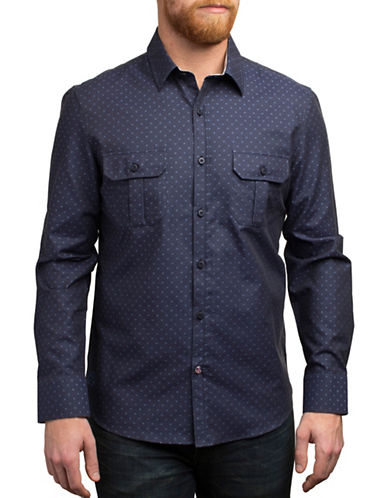 English Laundry Micro Starbursts Shirt-NAVY-Medium