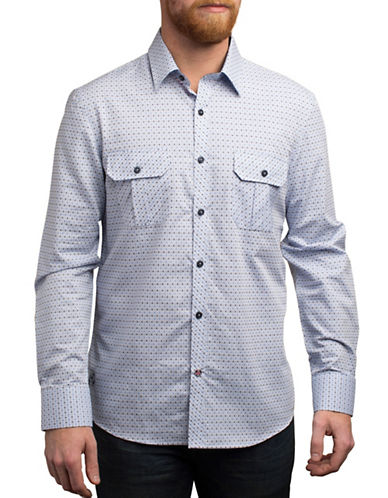 English Laundry Micro Flower Regular Fit Sport Shirt-BLUE-Medium